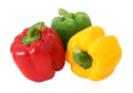 Red green and yellow sweet bell pepper isolated on white background Stock Images