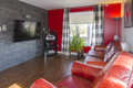 Red and grey living room comfortable modern Royalty Free Stock Photography