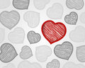 Red and grey scribbled hearts Royalty Free Stock Photos