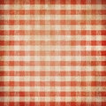 Red grunge checked gingham picnic tablecloth background Royalty Free Stock Photography