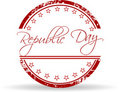Red grunge rubber stamp of Republic Day. Stock Photography