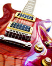 Red guitar close up image electric isolated over white background Stock Photos