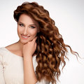 Red hair beautiful woman curly long hair high quality image Royalty Free Stock Photo