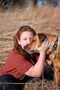 Red Hair Girl Dog Best Friends Field Outdoors Royalty Free Stock Images