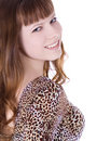 Red-hair girl in leopard dress posing over white Royalty Free Stock Photo