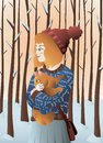 Red hair girl with orange cat in a cold day of winter with snowy trees