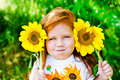 image photo : Red hair girl in the park