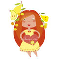 Red haired girl funny with heart Stock Photo