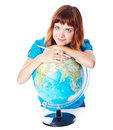 The red-haired girl with globe Stock Photos
