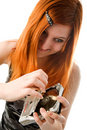 Red haired girl with hard drive Stock Photos