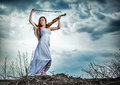 The red-haired girl with a violin Royalty Free Stock Images