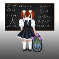 Red haired schoolgirl little with a big backpack and flowers drawing back to school Stock Photo