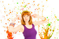 Red haired woman with colorful splashes Stock Photo