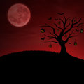 Red halloween pumpkin tree under moon background of with the on Royalty Free Stock Image