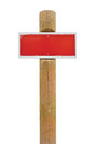 Red hand-painted prohibition warning sign board horizontal metal signage, white frame, wooden pole post copy space background, old Royalty Free Stock Photo