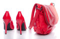 Red handbag and high heel shoes Royalty Free Stock Photo