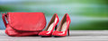 Red handbag and red high heel shoes Royalty Free Stock Photo