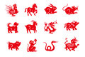 Red handmade cut paper chinese zodiac animals Royalty Free Stock Photo