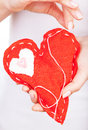 Red handmade heart Royalty Free Stock Photos