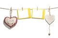 Red handmade hearts with blank card hanging on clothes line Stock Image