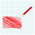 Red handwritten rectangle Stock Photography