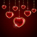 Red hanging hearts valentines background with illustration Royalty Free Stock Photos