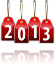 Red hanging tags with the 2013 Royalty Free Stock Images