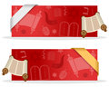 Red Hanukkah Banners with Ribbon Royalty Free Stock Photo