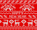 Red Happy New Year Jumper seamless knitted Pattern with deers. Royalty Free Stock Photo