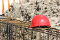 Red hard hat Royalty Free Stock Photo