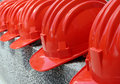 Image : Red hard hats and and woman