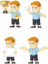 Red head boy customizable mascot a vector set of a redhead in several poses drawn in cartoon style this vector is very good for Royalty Free Stock Image