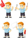 Red head boy customizable mascot a vector set of a redhead in several poses drawn in cartoon style this vector is very good for Royalty Free Stock Photo