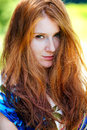 Red head portrait outdoor Stock Photo