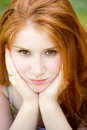 Red head portrait outdoor Stock Image