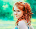 Red head portrait outdoor Royalty Free Stock Photography