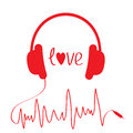 Red headphones with cord in shape of cardiogram isolated love card vector illustration Stock Image