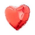 Red heart balloon foil isolated on white clipping path included Stock Photo