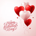 Red Heart Balloons Flying with Love Pattern and Happy Valentines Day Text Royalty Free Stock Photo