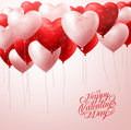 Red Heart Balloons Flying with Patterns in White for Valentines Greetings