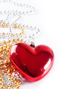 Red heart and beads Stock Photography
