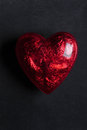 Red heart on a black background Stock Photos