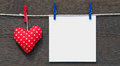Red heart and blank paper Royalty Free Stock Photo