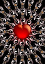 Red heart with bottles of wine d render a central corked viewed from above arranged in an eye catching pattern concentric Stock Image