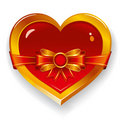 Red heart with bow Royalty Free Stock Photo