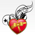 Red heart with bow and ribbon Stock Images