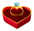 Red heart box with ring isolated on white vector illustration Stock Photography