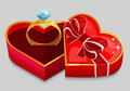 Red heart box with ring vector illustration Royalty Free Stock Photos