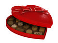 Red heart candy chocolates box gift with bow Royalty Free Stock Image