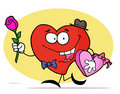 Red Heart Carrying A Box Of Valentines Day Chocol Royalty Free Stock Photos